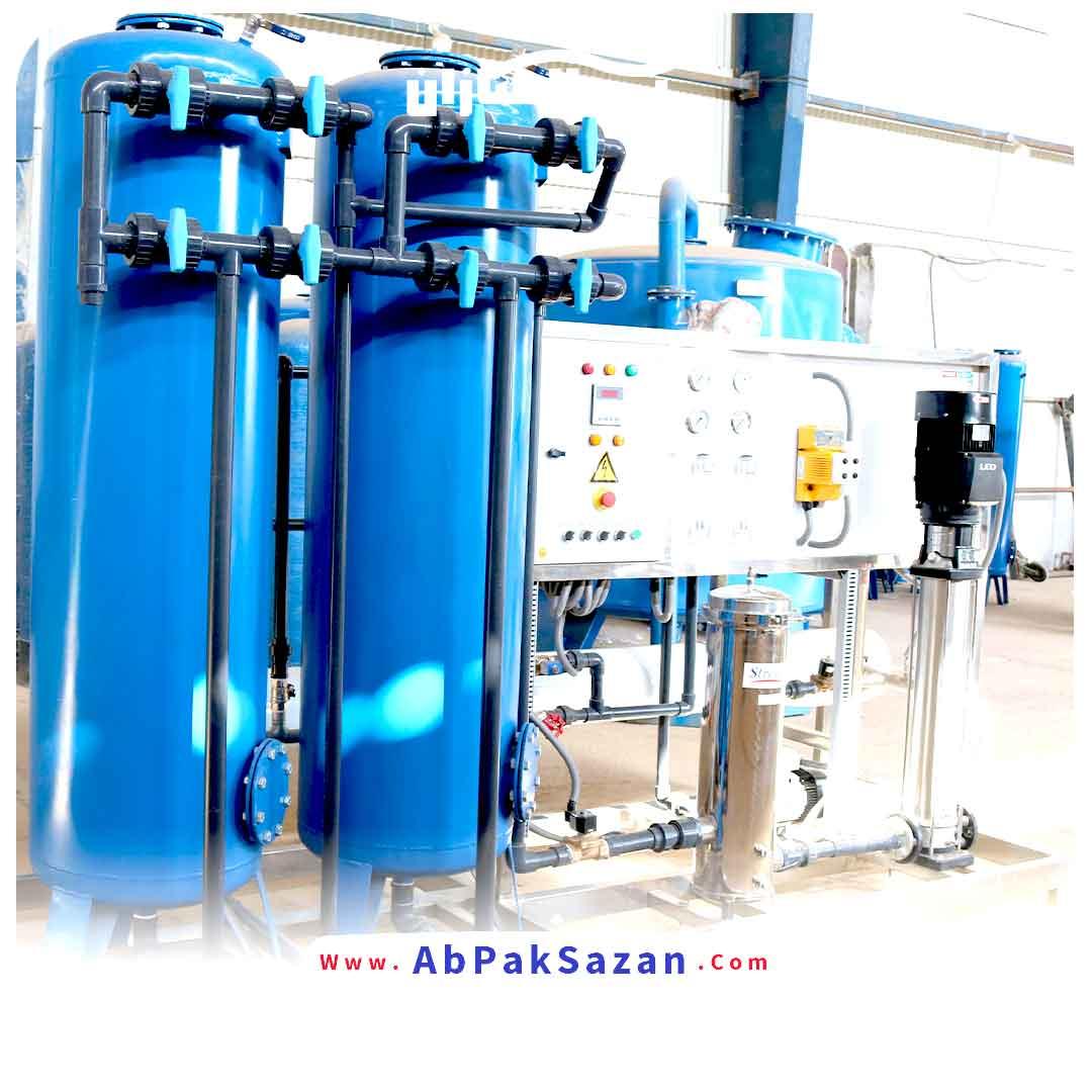 دستكاه تصفيه آب صنعتي با ظرفيت توليد 50 متر مكعب در شبانه روز